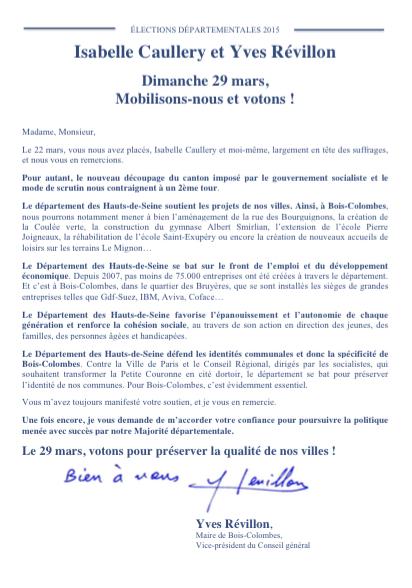 Départementales : 2eme Tour  Lettre d'I Caullery et Yves Révillon